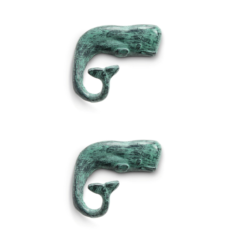 Jonahs Whale Tail Wall Hooks Set of 2 Cast Iron 6 Inch SPI Home
