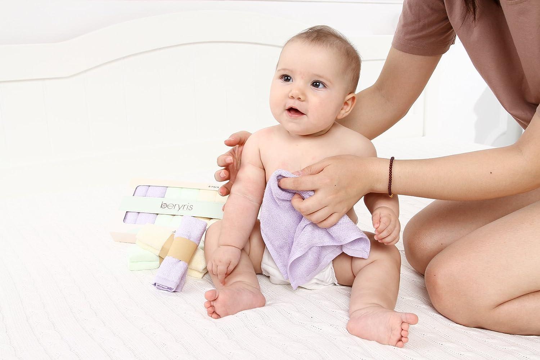 super absorbierende Handt/ücher Schonend auf empfindliche Haut f/ür S/äuglinge Nat/ürlich antibakterielle hypoallergene 6er-Pack Kleinkinder ultra-weich Bambus Baby Waschlappen