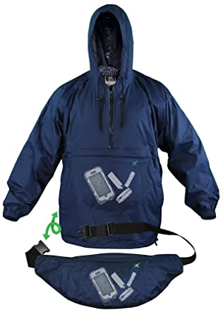 Xpocket Lightweight Breathable Packable Rain Windbreaker Jacket featuring  XS Navy Blue c9409a146