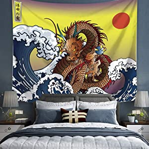 """Dragons and Sea WaveWall Hanging Tapestry, Ukiyo-e Japanese Legendary Dragon Tapestry, Animal Tapestry Wall Hanging Sea Wave Koi Japanese Art Décor for Dorm Bedroom Living Room (Dragon, 78""""L*58""""W)"""