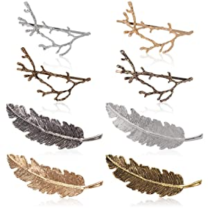 Womens Barrettes, Fascigirl 8pcs Metal Hairpins Gold Silver Butterfly Hair Clips for Girls Tree Branch Alloy Geometrical Moon Circle Bowknot Hair Circle Barrettes (Branch feathers)