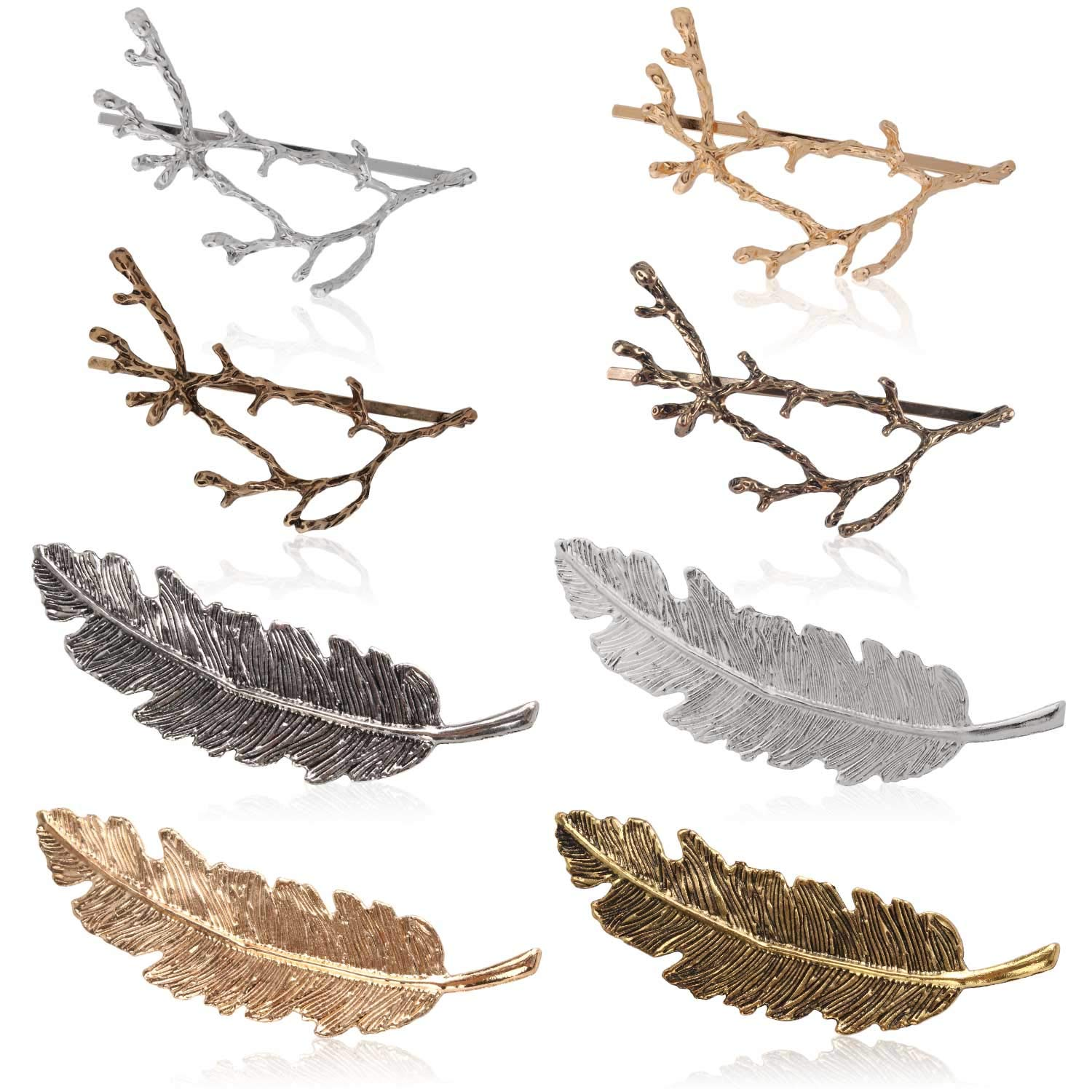 Womens Barrettes, Fascigirl 12PCS Metal Hairpins Gold Silver Butterfly Hair Clips for Girls Tree Branch Alloy Geometrical Moon Circle Bowknot Hair Circle Barrettes (Tree Branch + Tree Leaf)