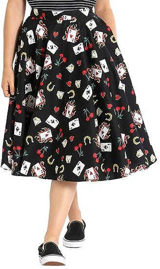 Hell Bunny Mujer Viva Las Vegas 50s Falda Circular: Amazon.es ...