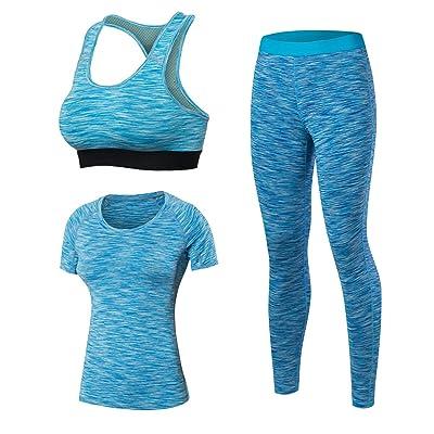 MingDe Women's Compression Yoga T Shirts + Running Sport Bra + Leggings 3 Pack Set