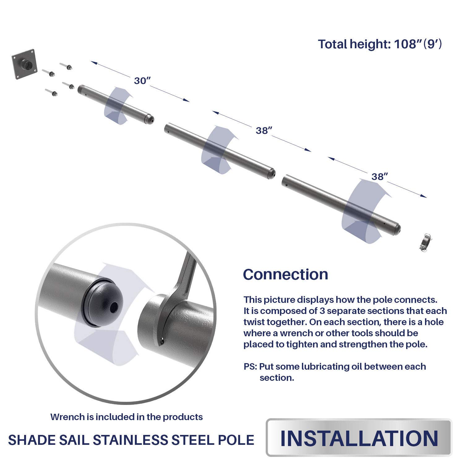 Windscreen4less 108'' Sun Shade Sail Pole,Knitted Shade Sail Stand Post,Awning Support Poles,Canopy Support Poles,Strengthen,Heavy-Duty Support-Steel - Gray by Windscreen4less (Image #4)