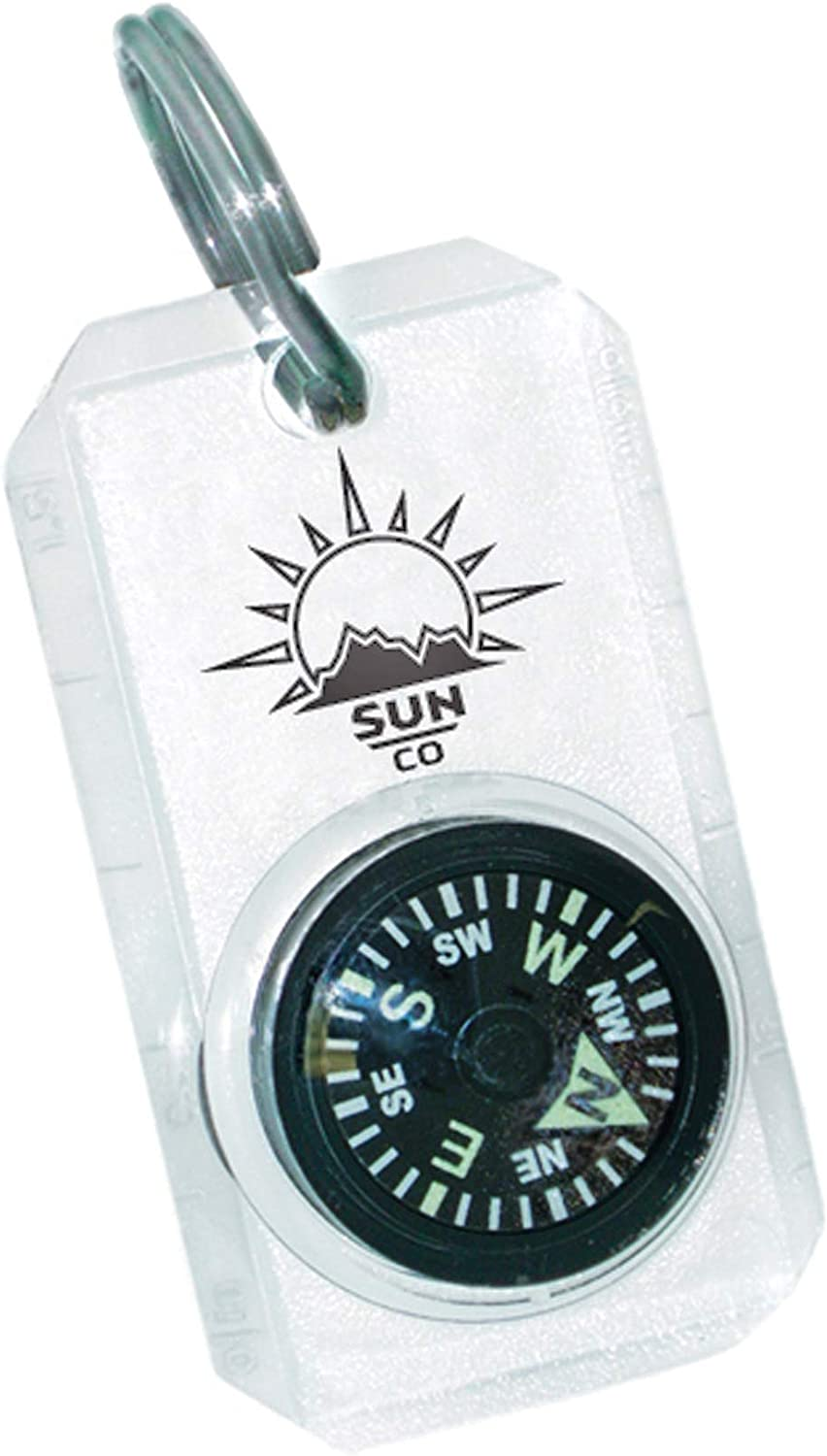 MiniComp - Zipperpull Mini Compass with Split Ring | Easy-to-Read Compass for Jacket, Parka, or Pack