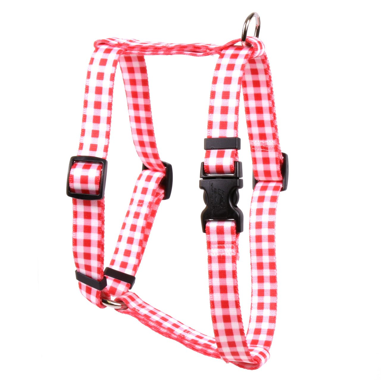 Yellow Dog Design Gingham Red Roman Style H Dog Harness, Large