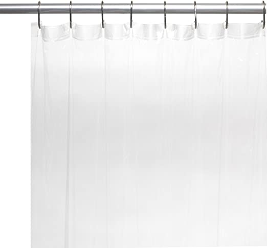 Carnation Home Extra Long 78/'/' Polyester Fabric Shower Curtain Liner in White