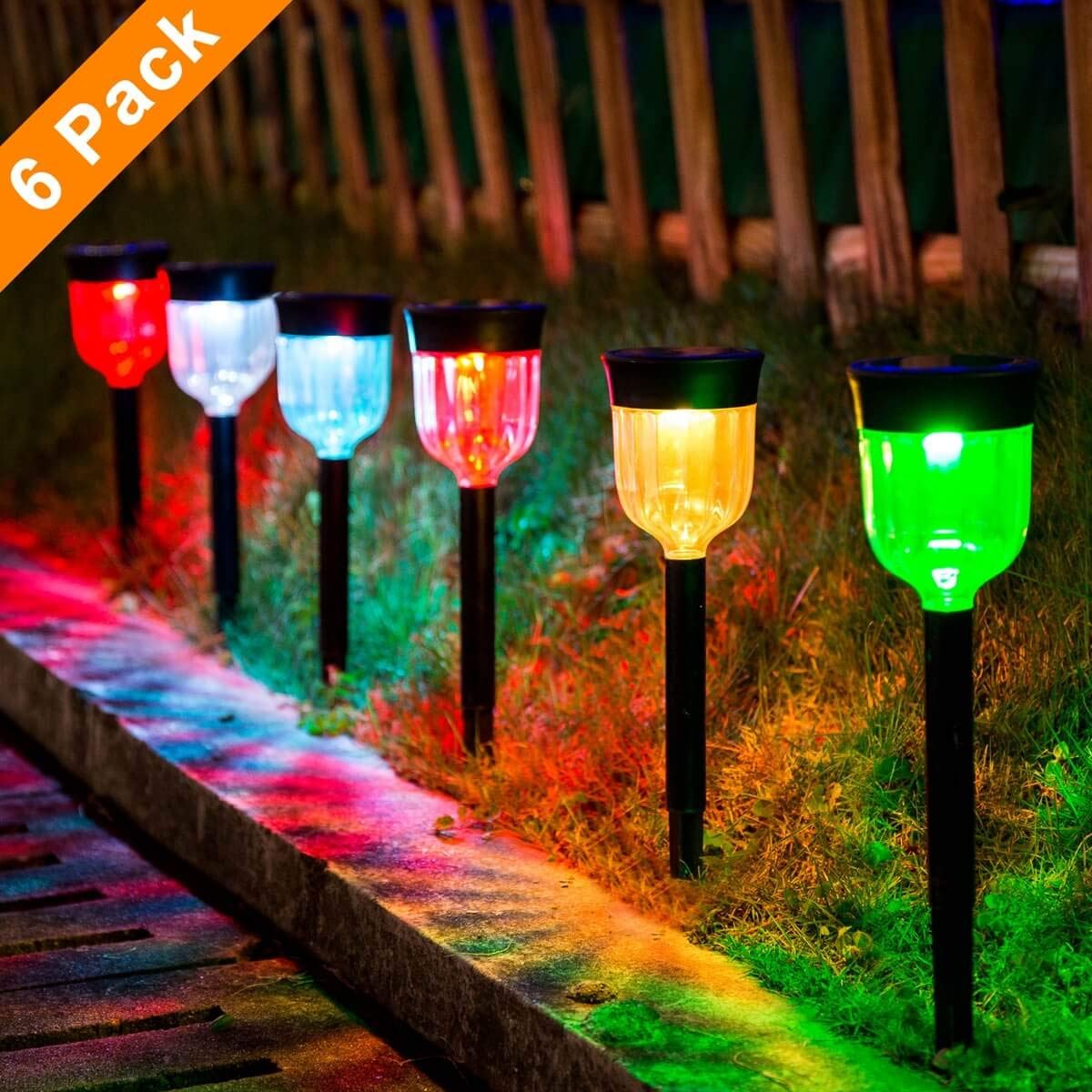 LED Solar Light Outdoor, SMY 6 Packs Solar Pathway Lights with 7 Color Changing Waterproof IP65, Auto On/Off Outdoor Solar Landscape Lights/Pathway Lights for Lawn, Back Yard and Walkway