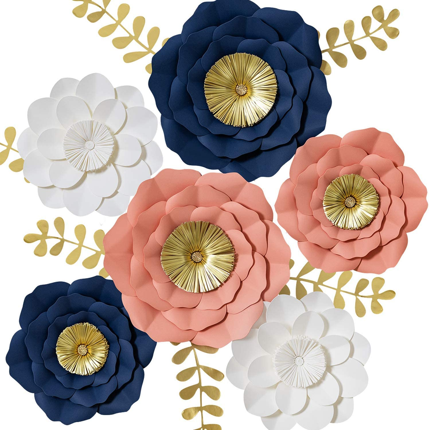 3D Paper Flowers Decorations, Giant Paper Flowers, Large Handcrafted Paper Blooms (Navy Blue, Coral, White, Set of 6) for Wedding Backdrop, Bridal Shower, Baby Shower, Nursery Wall Decor