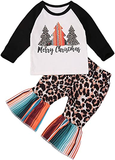 Toddler Kid Baby Girl T-shirt Tops+Long Bell Bottom Leggings Outfit Clothes Set