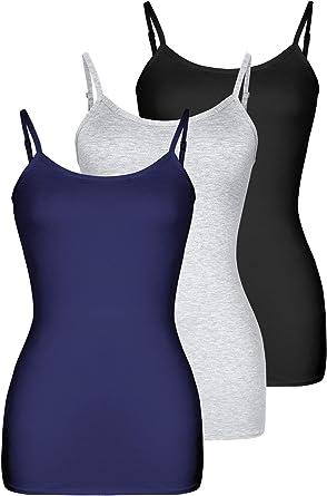 H HIAMIGOS 3 Pack Camisolas Larga Básica de Mujer Camisolas de ...