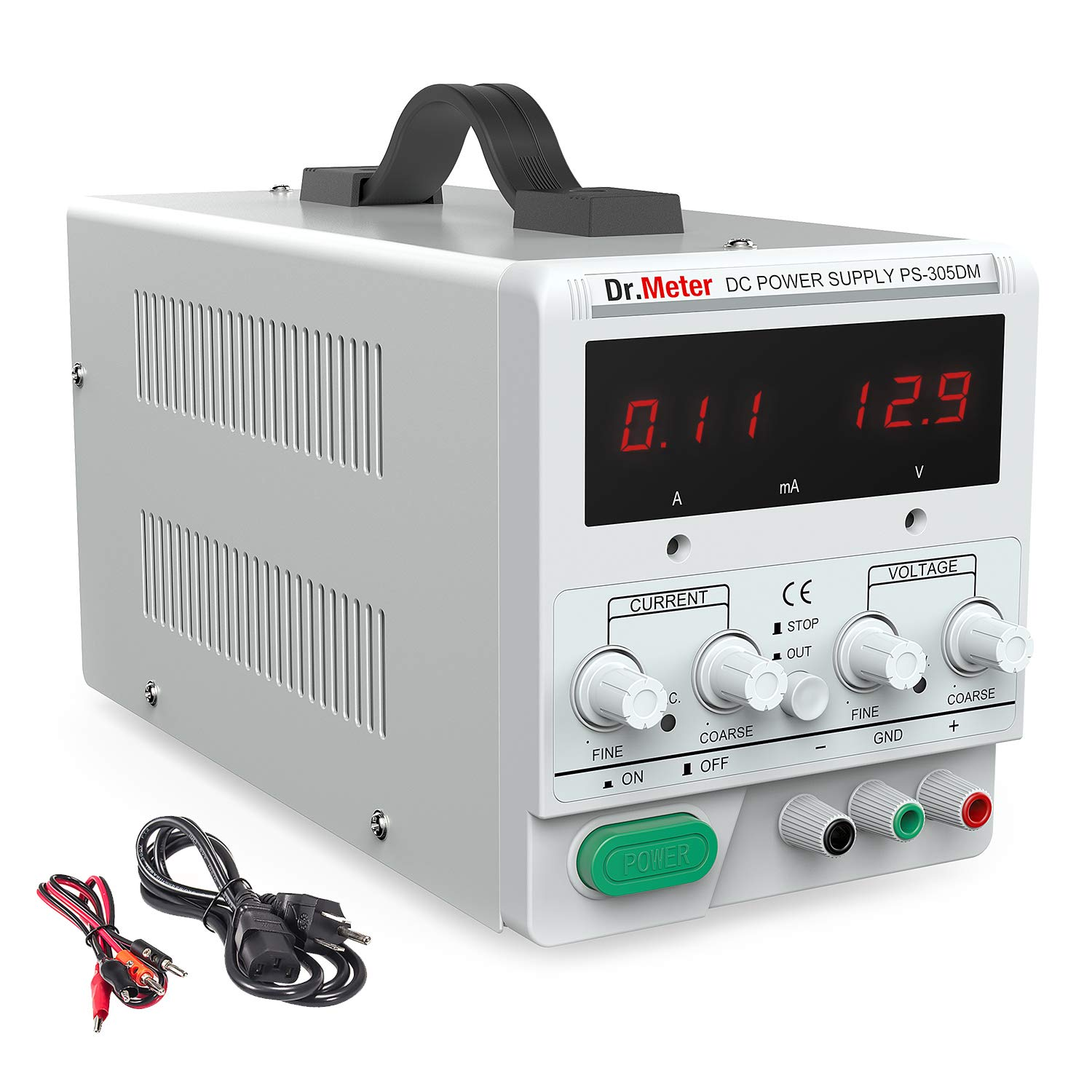 Dr meter 30V/5A DC Bench Power Supply Single-Output 110V/220V Switchable  with Alligator Clip included, US 3-prong Cable,PS305DM