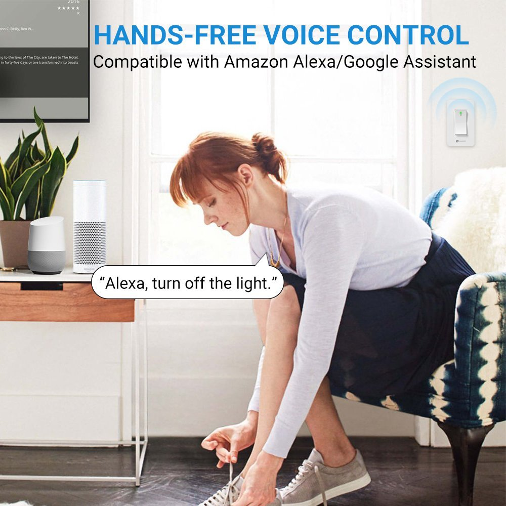 Smart Wall Switch, Houzetek Wireless Wifi Light Switch with Timing Function and Remote Control, Work with Amazon Alexa/Google Home/IFTTT, No Hub Required (PS15SA) by Houzetek (Image #3)