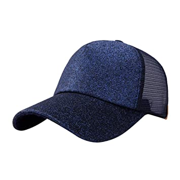 de40fb6468250 Amazon.com  UMFun Women Ponytail Baseball Cap Sequins Shiny Mesh Bun  Snapback Hat Sun Caps Adjustable Hip Hop Caps (Navy)  Beauty