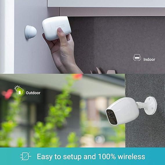 Vacos 1080P C/ámara de Seguridad Inal/ámbrica Bater/ía Recargable//Carga Energ/ía Solar Visi/ón Nocturna en Color  Alexa Detecci/ón AI PIR 16GB Incorporado Almacenamiento IP65 Impermeable