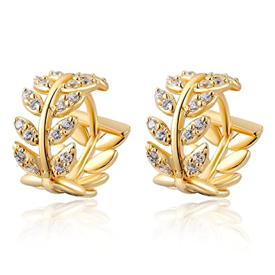 Amazon Com Women S Gold Plated Earrings Stud Dangle Willow Leaves