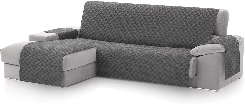 textil-home Funda Cubre Sofá Chaise Longue Malu, Protector para Sofás Acolchado Brazo Izquierdo. Tamaño -240cm. Color Gris (Visto DE Frente)