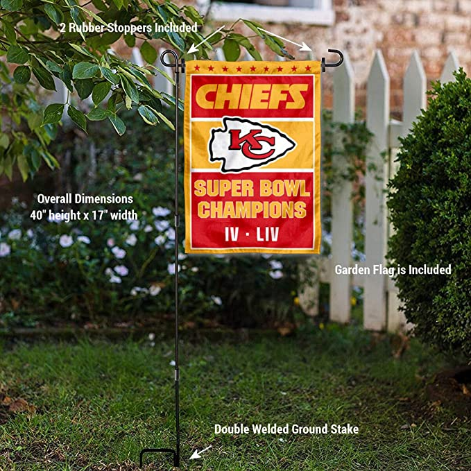 WinCraft Kansas City Chiefs 2 Time Super Bowl Champions Garden Flag with Stand Holder