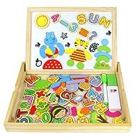 Jouets en Bois Double Puzzles Enfant Magnétique Planche Lettres et Chiffres Jouets Educatif Pour Les Enfants Garçons et Filles de 3 Ans et Plus (100 Pièces)
