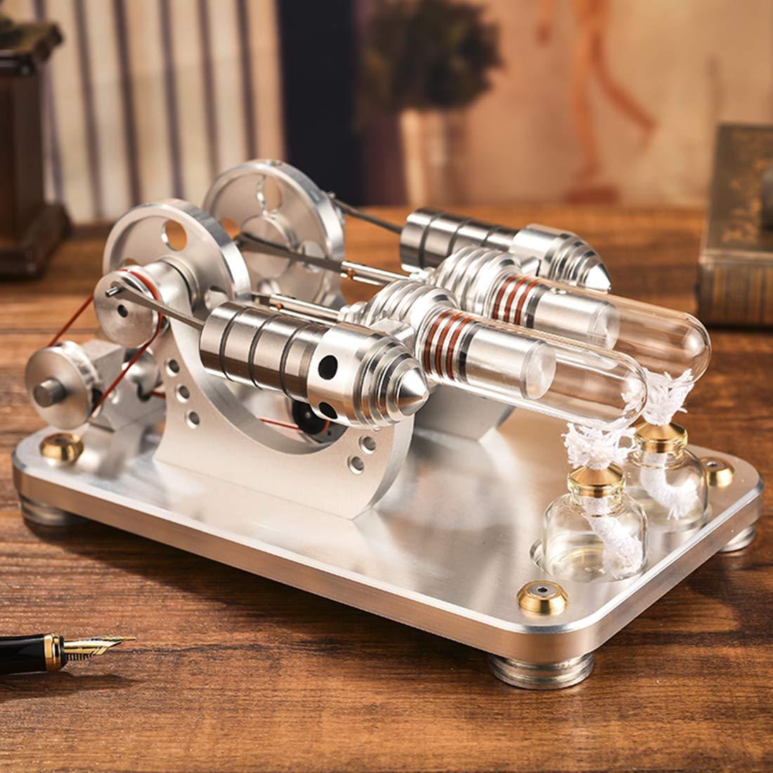 ColiCor M/étal Stirling Moteur Stirling G/én/érateur Sterling Engine Moteur Mod/èle Jouet /Éducatif pour Enfant Adulte M/étal Double Cylindre Parall/èle