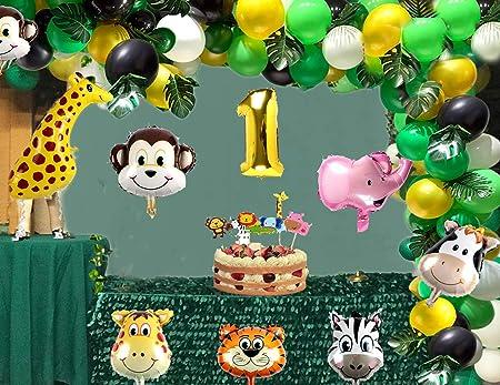 vamei 149PCS Fiesta de cumpleaños Decoracion Selva Niño-Feliz cumpleaños Aarticulos de Fiesta Palma Globos de Latex y Safari Bosque Animal Globos para ...