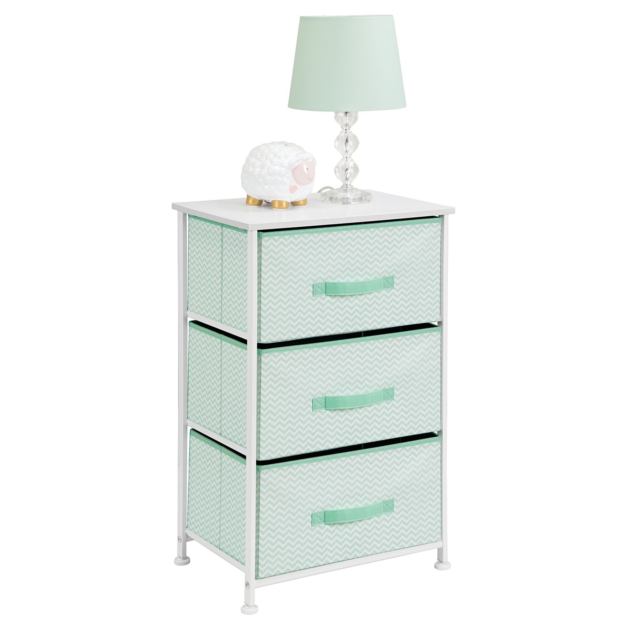 mDesign Vertical Dresser Storage Tower - Sturdy Steel Frame, Wood Top, Easy Pull Fabric Bins - Organizer Unit for Bedroom, Hallway, Entryway, Closets - Chevron Print - 3 Drawers, Mint/White