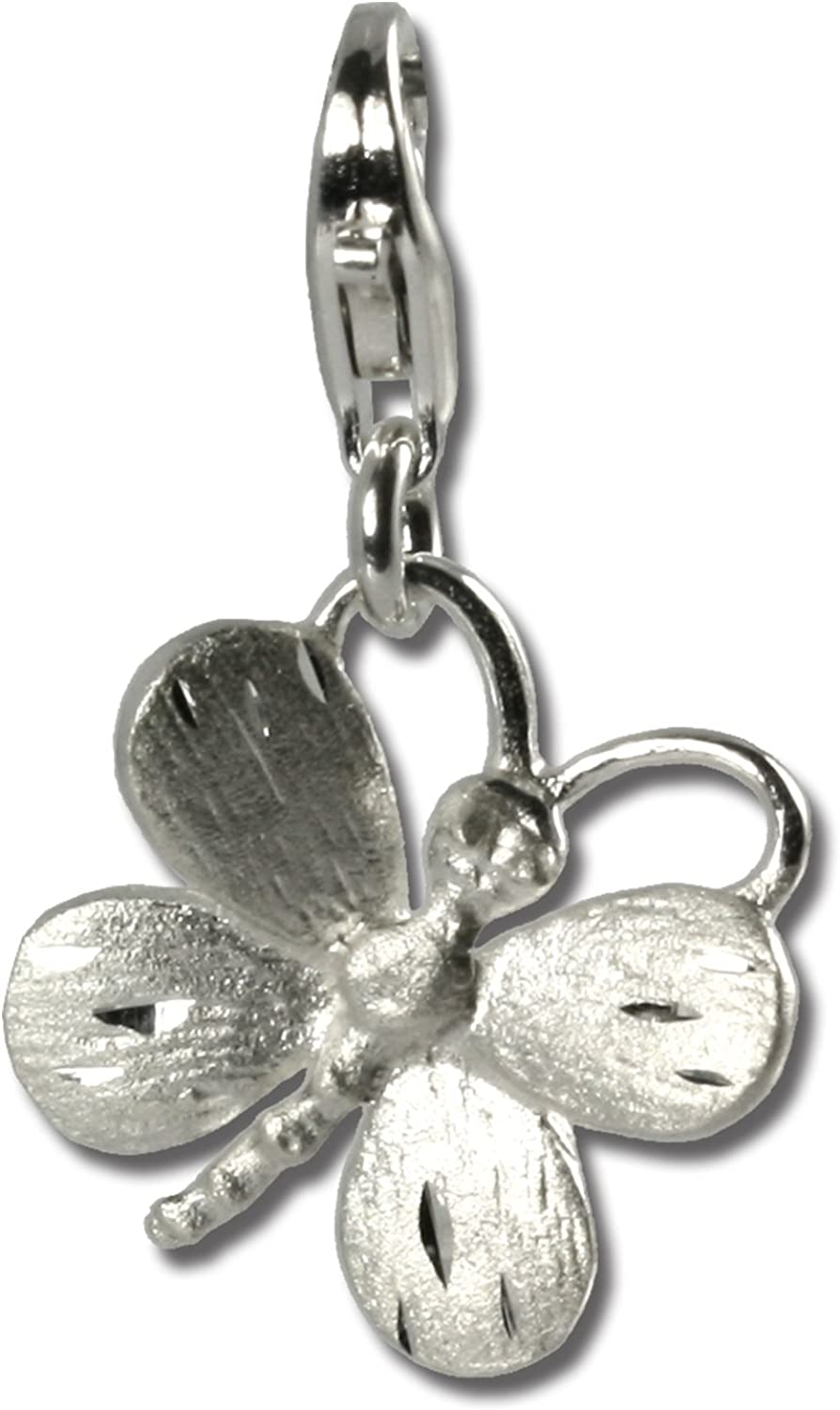SilberDream Charm 925 Sterling Silver Butterfly Lobster Clasp Charm
