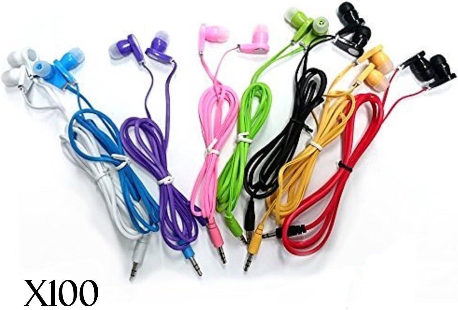 JustJamz 3.5mm Stereo in-Ear Bulk Earbud Headphones Wholesale Earphones for Classroom Library Kids (Assorted Colors), 100 Pack
