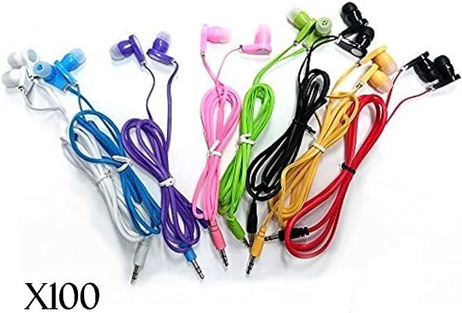 JustJamz 3.5mm Stereo in-Ear Bulk Earbud Headphones Wholesale Earphones for Classroom Library Kids Assorted Colors , 100 Pack