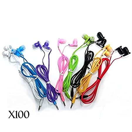 JustJamz 3.5mm Stereo in-Ear Bulk Earbud Headphones Wholesale Earphones for Classroom Library Kids Assorted Colors – 100 Pack
