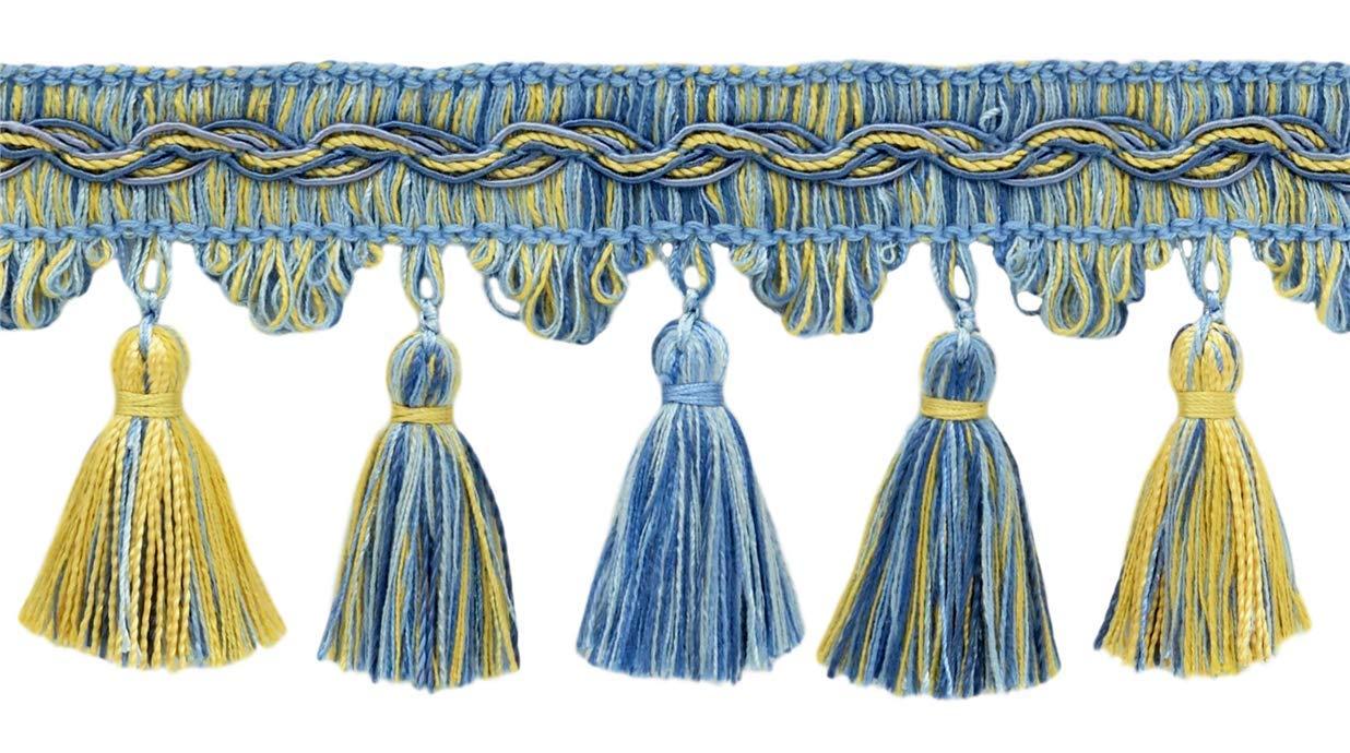 DÉCOPRO 5 Yard Value Pack of Veranda Collection 3.5 Inch Tassel Fringe Trim - Champaigne Gold, Cadet Blue, French Blue, Style# VTF035, Color: Light Blue, Gold - VNT13 (4.5M / 15 Ft) by DÉCOPRO