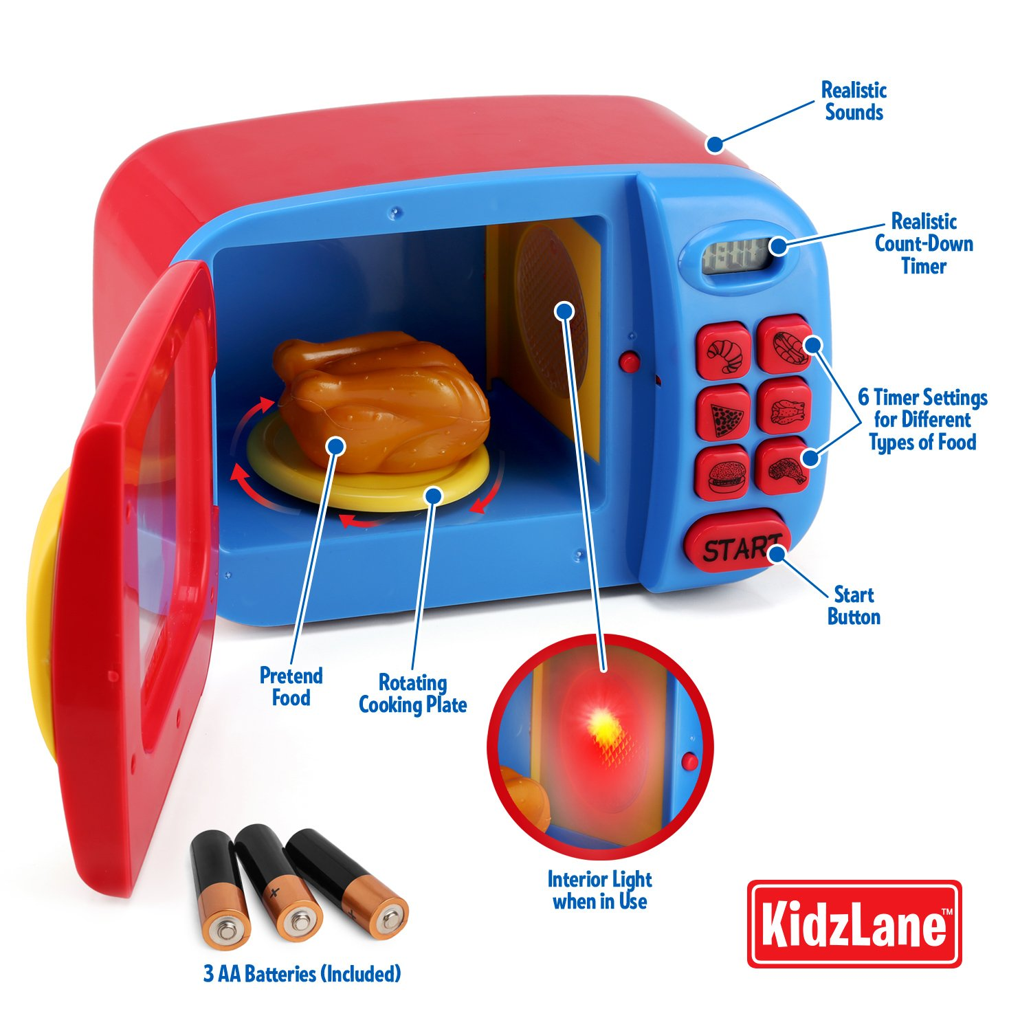 kidzlane microwave oven toy for kids pretend play