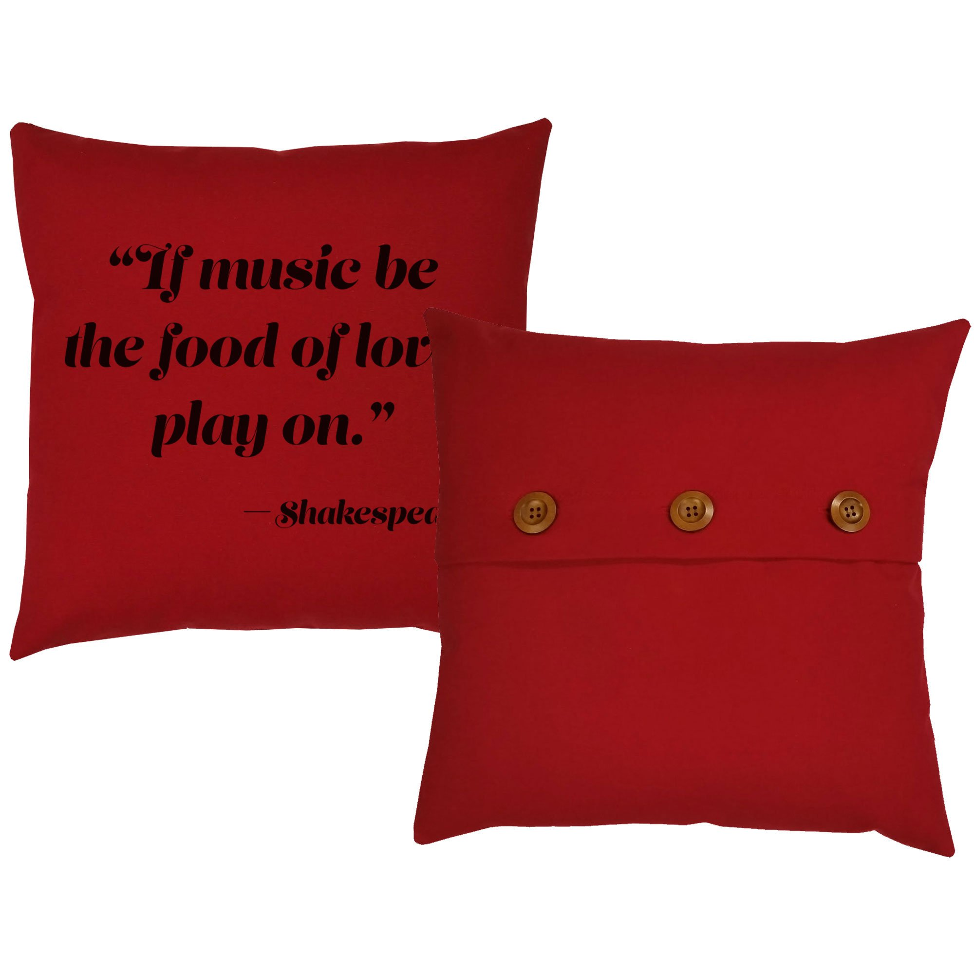 Set of 2 RoomCraft Music is the Food of Love Throw Pillows 20x20 Square Red Cotton Shakespeare Quote Cushions by RoomCraft (Image #3)