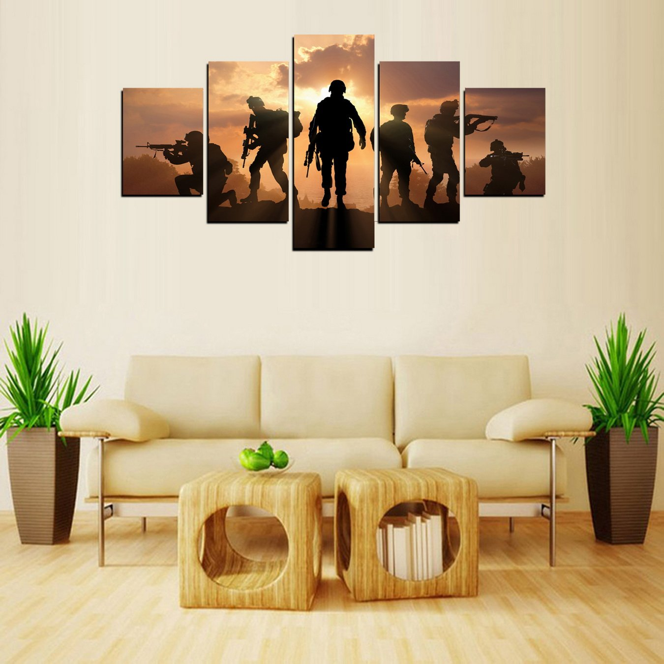 MailingArt Modern Home and Office Wall Decor 5 Panels Canvas Prints Six Military Soldier Silhouettes Photos to Prints Painting on Canvas 12x16inchx2 12x24inchx2 12x32inchx1