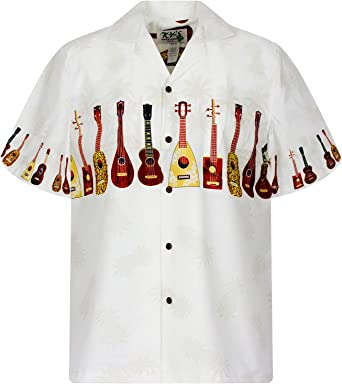 KYs | Original Camisa Hawaiana | Caballeros | S - 6XL | Manga Corta | Bolsillo Delantero | Estampado Hawaiano | Ukelele | Blanco