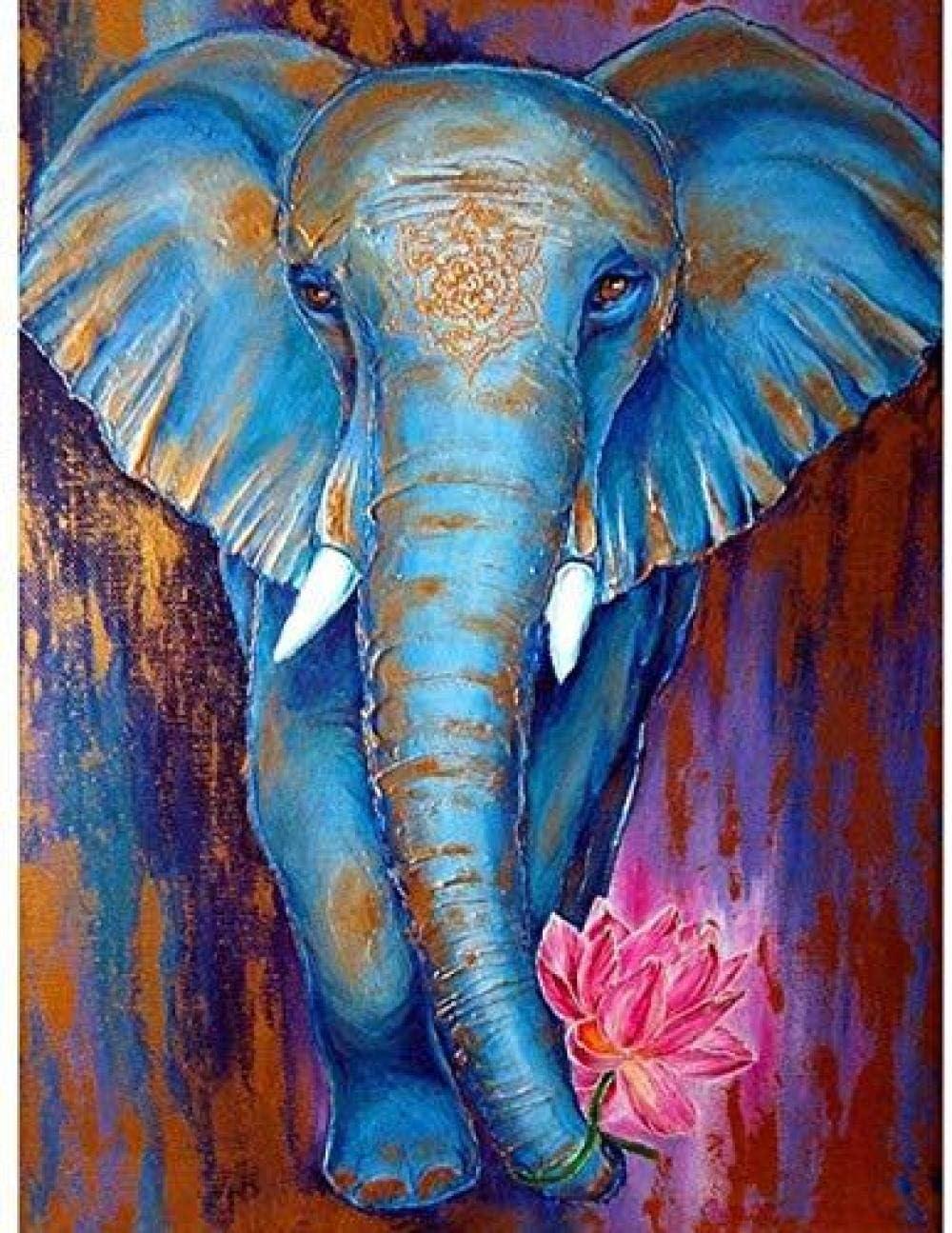 KLBPL Pintar por Numeros Adultos Elefante Animal Loto Lino Lona–DIY Pintura Al Óleo Decoracion De Pared Regalos Sin Marco 40,6X50,8 Cm con Pinturas Acrílicas Y 3 Pinceles