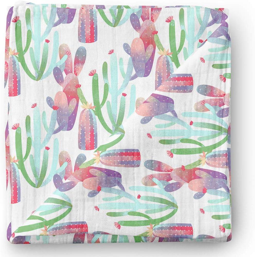 Manta de muselina para bebé Aenne Baby, Cáctus morado rosa floral, Grande 120 x 120 cm, 1 pack, de bambú sedoso lujoso y suave, regalo para bebé recién nacida