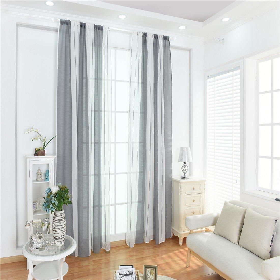 Winwinus Stripes Sheer Curtain Panel Eyelet Top Drapes Window Covering for Doors, (Single Panel,39Wx79L) Grey White Stripe 3979inch