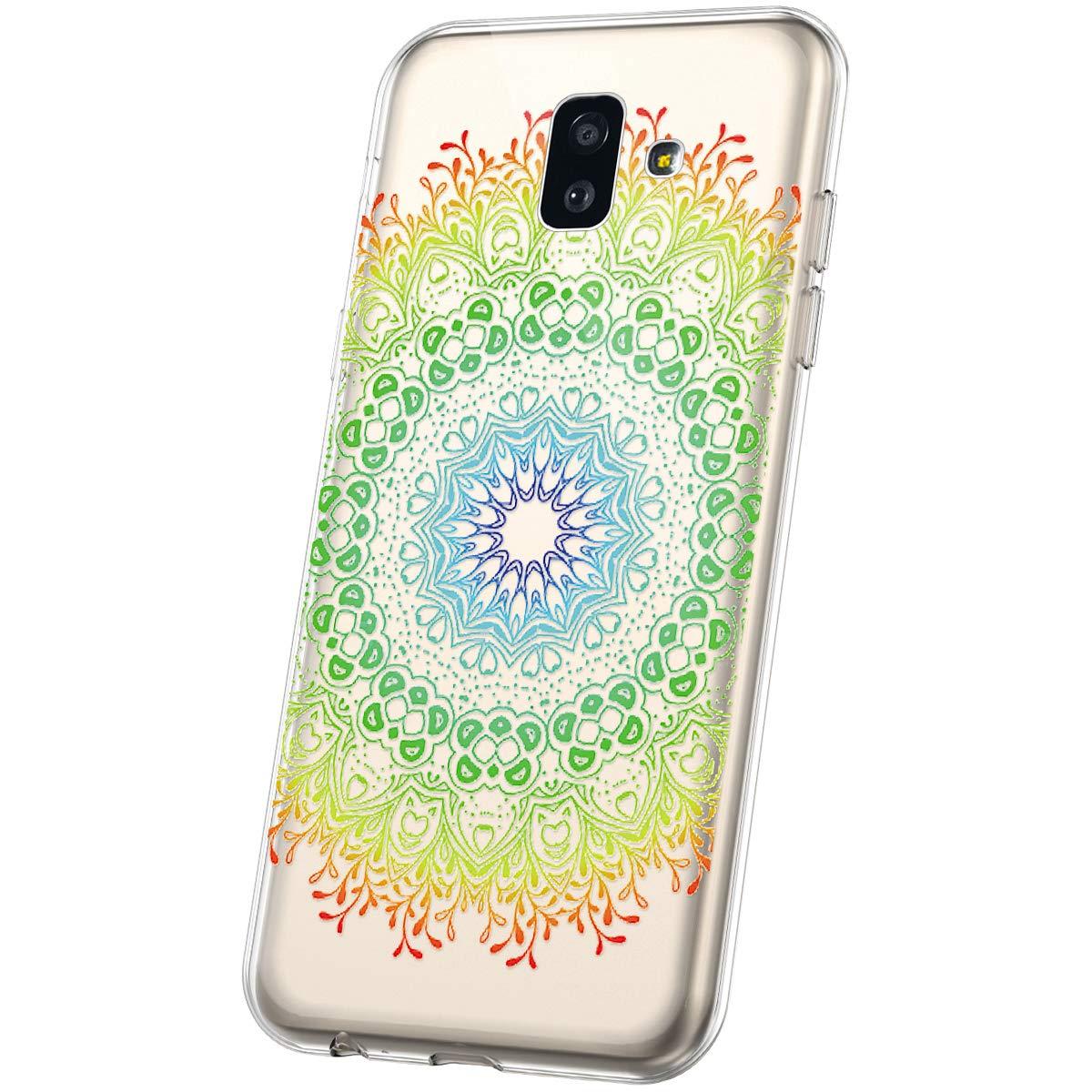 MoreChioce Coque Galaxy J6 Plus 2018,compatible avec Coque Samsung Galaxy J6 Plus 2018 Mandala,Jolie Henn/é Tribal Fleur Transparente Silicone TPU /Étui Antichoc Housse Souple Gel Bumper,Mandala #7