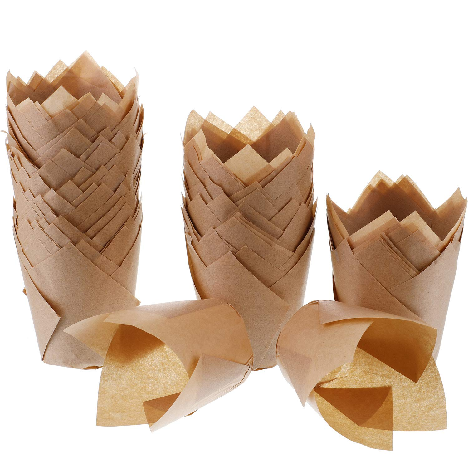 Natural Color Hestya 150 Pieces Tulip Muffin Baking Cups Cupcake Muffin Liners Baking Cup Holder