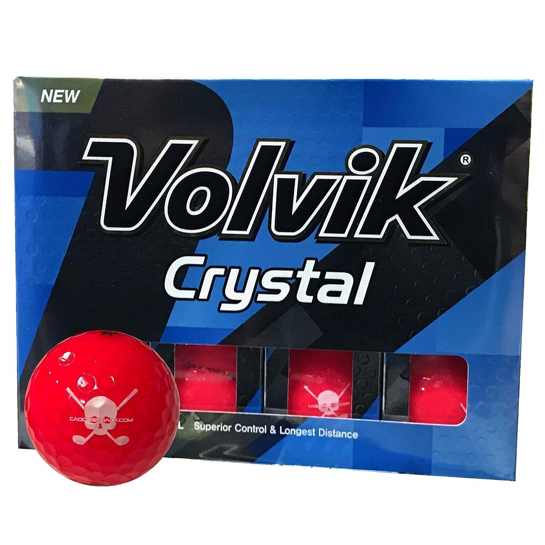 CaddiesShack Volvik クリスタル スカル ロゴ ゴルフボール 限定版  レッド&ホワイト B07HFH6986