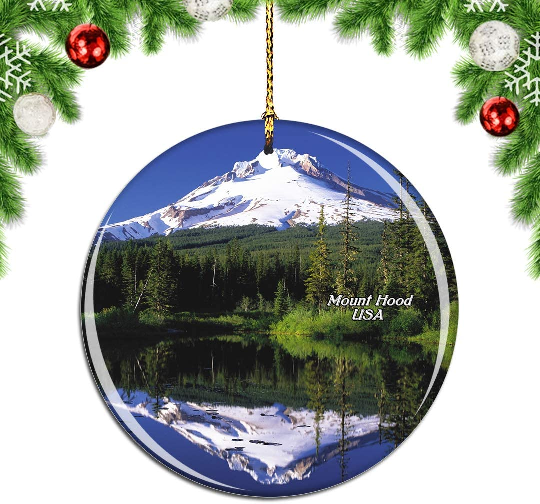 Weekino America USA Mount Hood Oregon Christmas Xmas Tree Ornament Decoration Hanging Pendant Decor City Travel Souvenir Collection Double Sided Porcelain 2.85 Inch