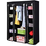 "53"" Wardrobe Closet Storage Organizer Clothes Armoire Bedroom Cabinet Wood Portable Shelves Shelf Black New"
