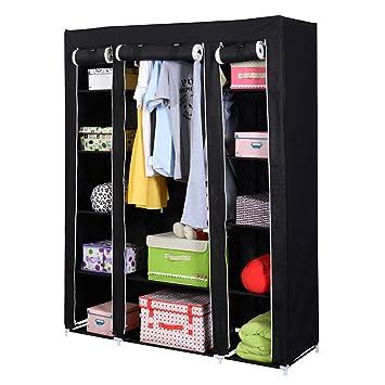 53u201d Portable Closet Wardrobe Clothes Rack Storage Organizer With Shelf  Black New