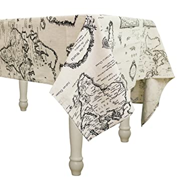 WOMU Cotton Linen Washable Tablecloth World Map   Vintage Rectangle Dinner  Picnic Table Cloth Home Decoration