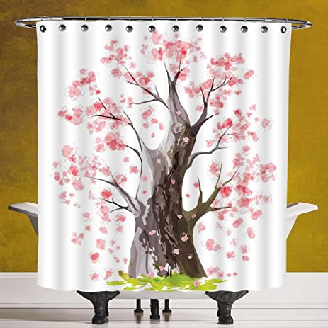 Funky Shower Curtain 30 House DecorLandscape With Volcano And Japanese Trees On A