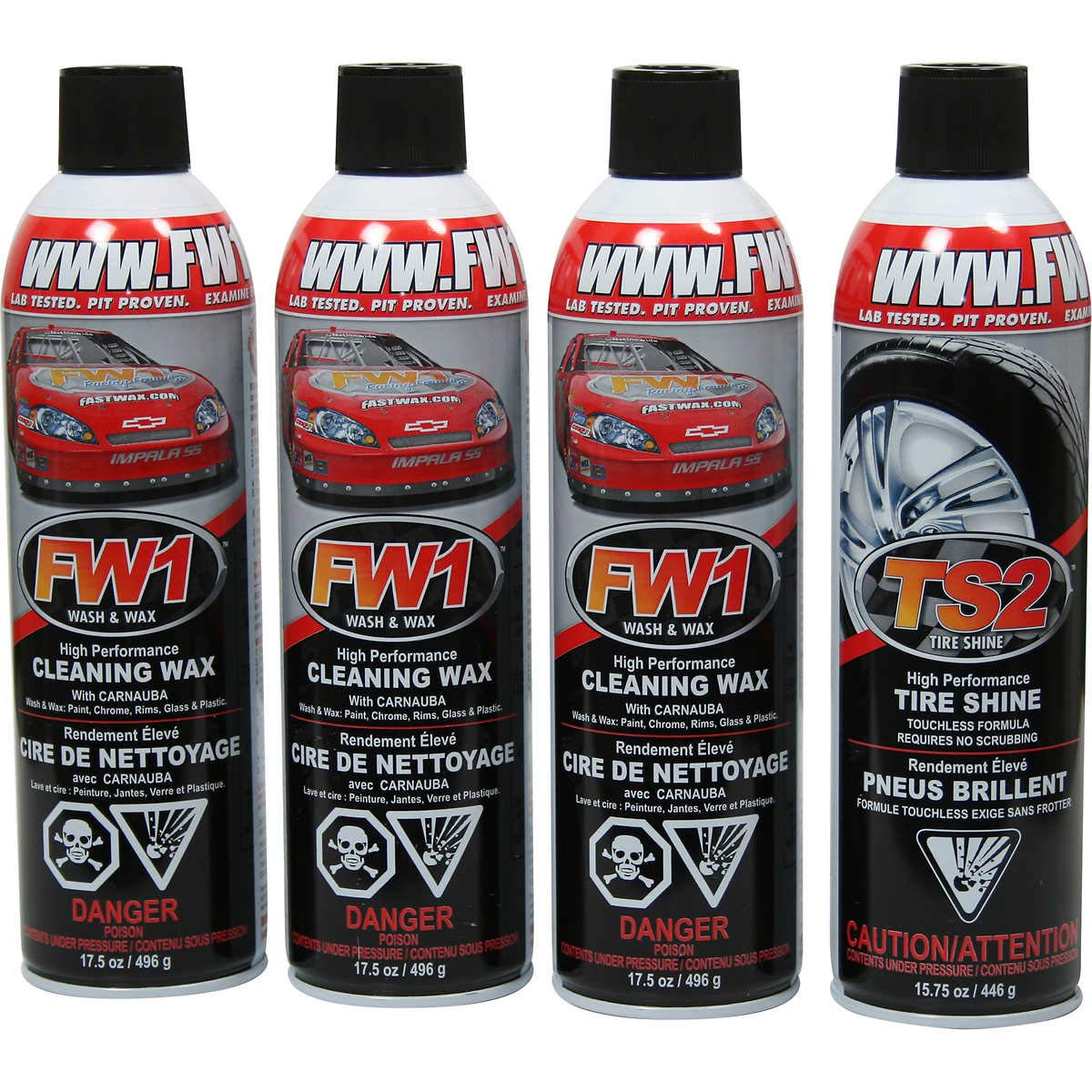 3 x FW1 High Performance Exterior Wash and Wax with Carnauba + 1 x TS2 Tire Shine Touchless Formula
