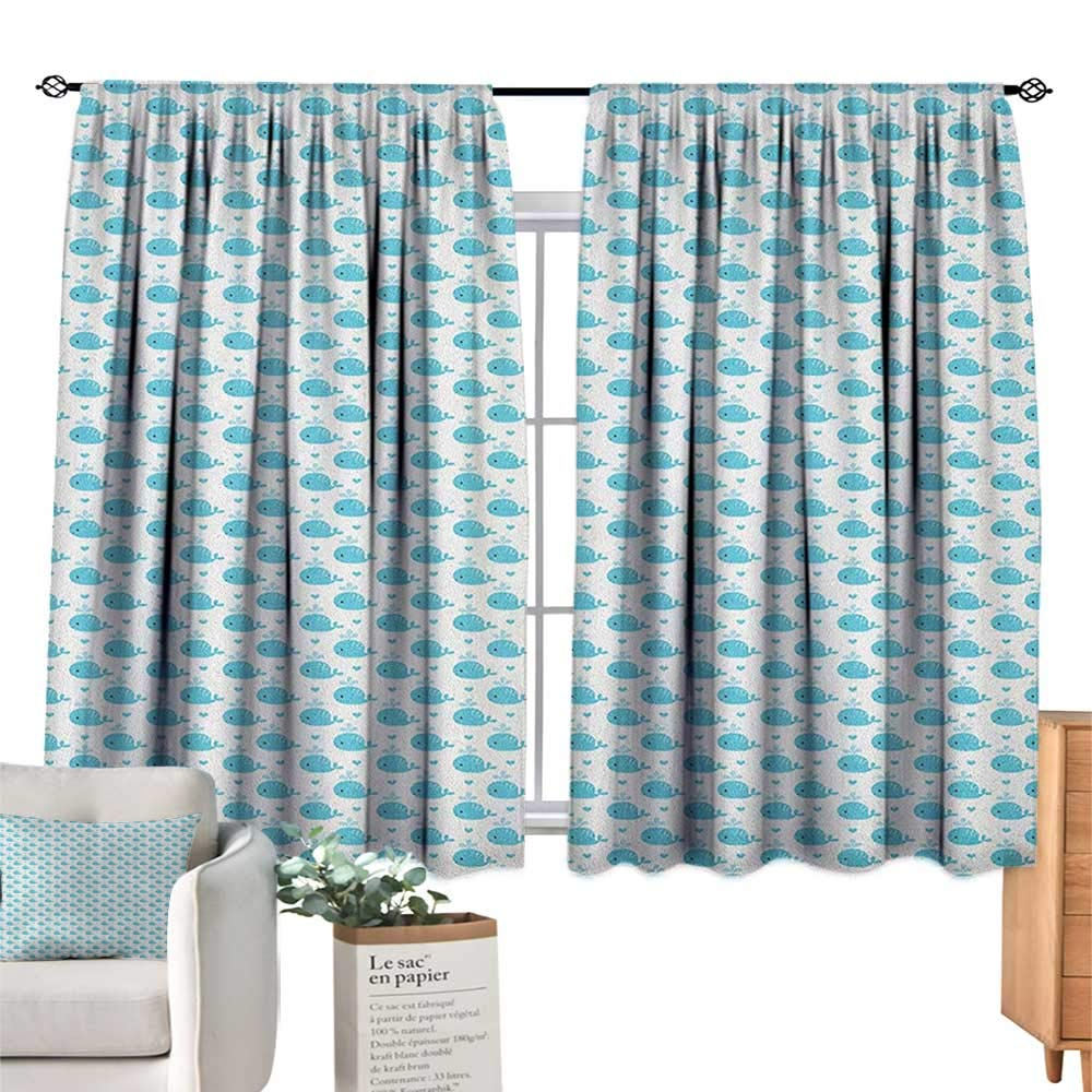 familytaste Whale,Blackout Window Curtain Little Fish Figures Squirting Water Hearts Childish Pattern for Baby and Kids Room Darkening Wide Curtains W63 x L63
