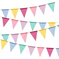 BEFORYOU 60 Flags Imitated Burlap Pennant Banner - Multicolor Fabric Triangle Flag Bunting for Summer Party and Festival…
